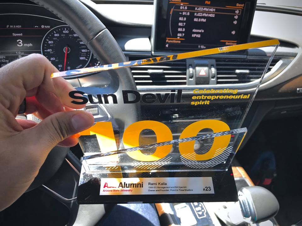 Point in Time Studios Owner & Founder, Rami Kalla, ranked #23 out of 100 top entrepreneurs who were honored with a Sun Devil 100 award.